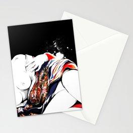 Woman wears a traditional kimono, Naked Body, Fashion illusration, Bueaty Portrait Stationery Cards