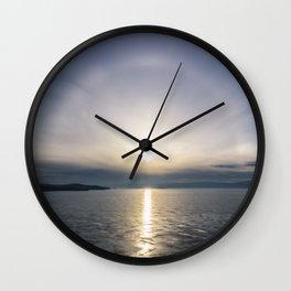 Halo over ice of lake Baikal Wall Clock