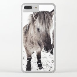snowy Icelandic horse bw Clear iPhone Case