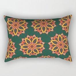 'Autumn Transition' Fall Autumn Flowers On Dark Green Rectangular Pillow