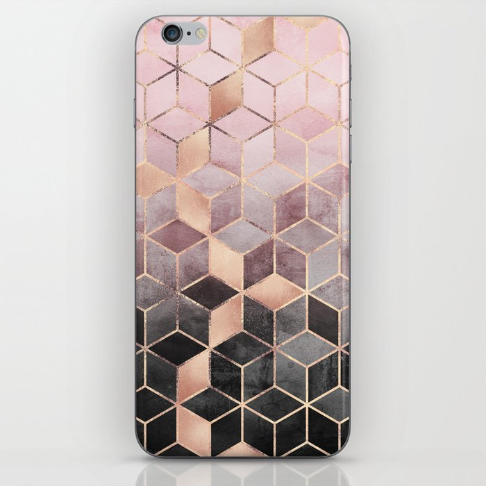 Pink And Grey Gradient Cubes iPhone Skin