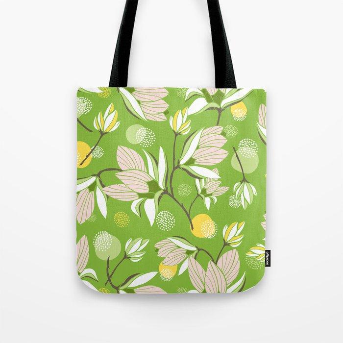 Magnolia Blossom Greenery Tote Bag