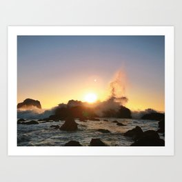 Crashing Waves / Pacific Sunset Art Print