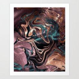 Metallic Rose Gold Marble Swirl Art Print