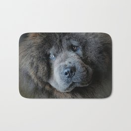 Watching Master - Blue Chow Chow Bath Mat