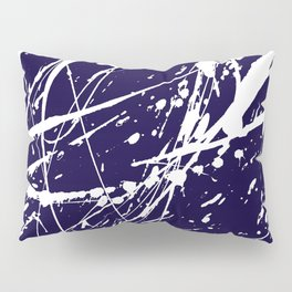 Modern navy blue white watercolor paint splatters Pillow Sham