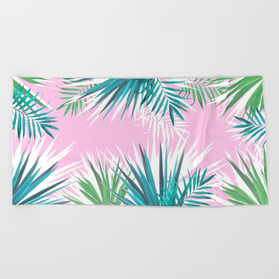 Tropical leaves pink and turquoise Beach Towel