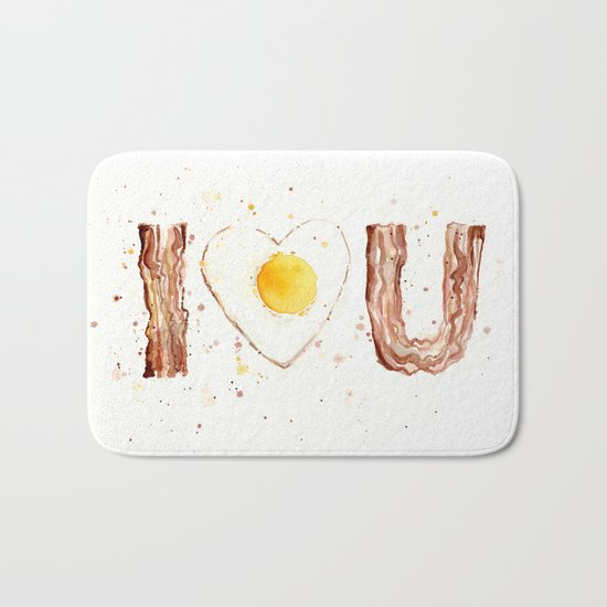 Bacon and Egg Love Valentines Day Heart Bath Mat