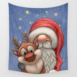 Little Santa and his little reindeer Wall Tapestry