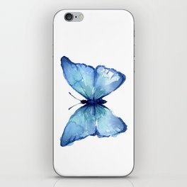 Blue Butterfly Watercolor iPhone Skin
