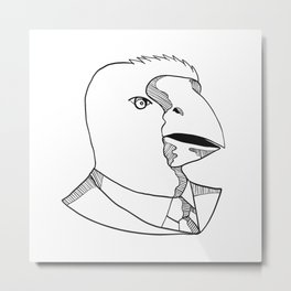 South Island Takahe Wearing Tie Drawing Black and White Metal Print