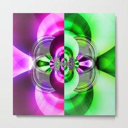 Symmetry green pink Metal Print