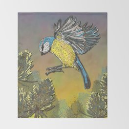 Blue Tit and Teasels Throw Blanket
