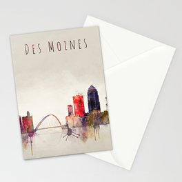 Colorful Des Moines City Skyline Stationery Cards