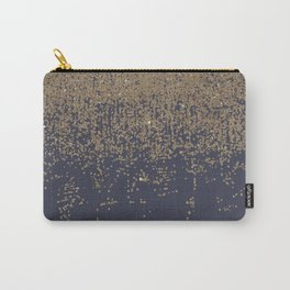 Navy Blue Gold Sparkly Glitter Ombre Carry-All Pouch