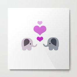 Elephant Kisses Metal Print