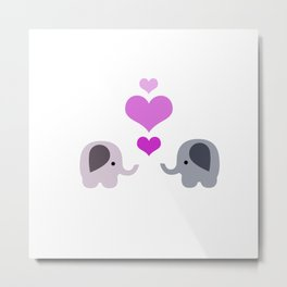 Elephant Kisses Metal Print