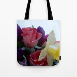 Vibrant bouquet of flowers in the snow Tote Bag