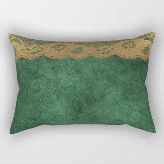 Green Lace Velvet 02 Rectangular Pillow