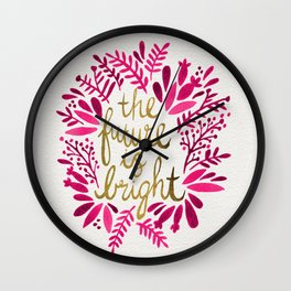 The Future is Bright – Pink & Gold Wall Clock