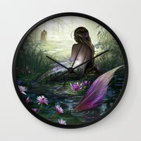 the little mermaid Wall Clocks featuring Little mermaid by milyKnight