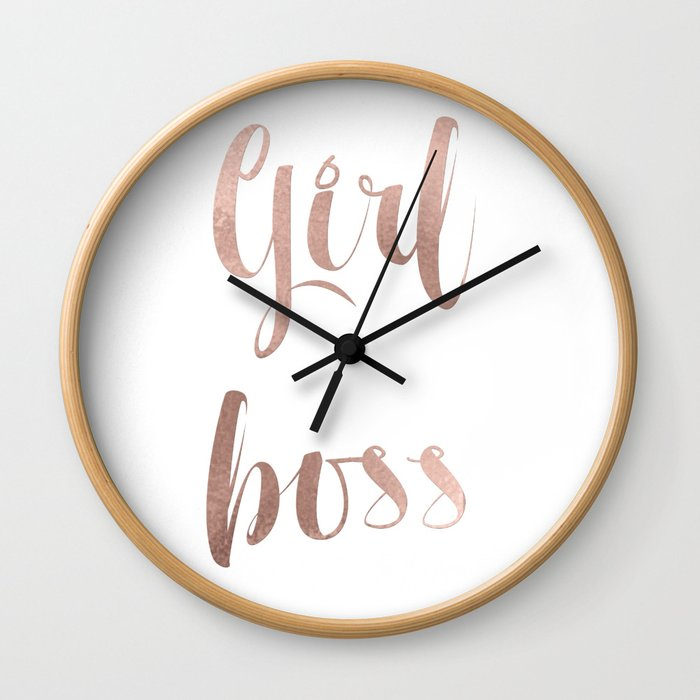 Girl boss - rose gold Wall Clock