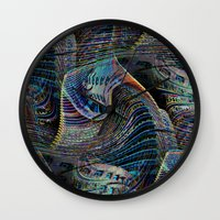 architect Wall Clocks featuring the delusional architect by David  Gough