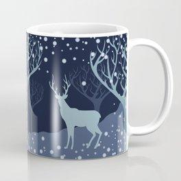 Deer in snowy forest Coffee Mug