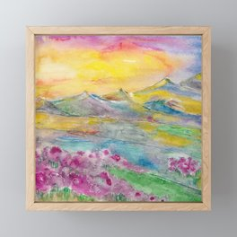 Sunset in the mountains. Watercolor painting Framed Mini Art Print