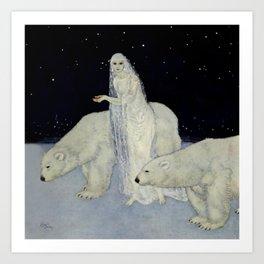 """""""The Snow Queen"""" Fairy Tale Art by Edmund Dulac Art Print"""