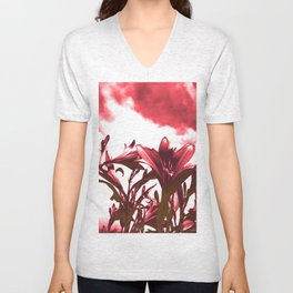 Lilies in Red Unisex V-Neck