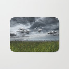 Grassland With Dark Clouds, Germany - Landscape Photography Bath Mat