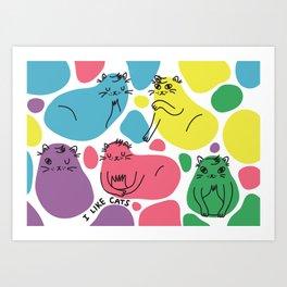 Blob Cats Art Print