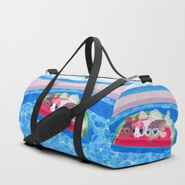 Cory cats in the swimming pool Duffle Bag