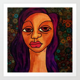 Brown Girl Blue Art Print