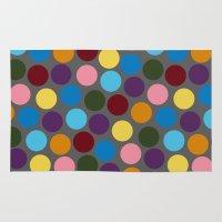 polka dots Area & Throw Rugs featuring Polka dots by Bunyip Designs