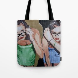 A portrait of a woman twice in a golden interior Tote Bag