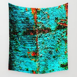 Baby Blue Rusting through Wall Tapestry