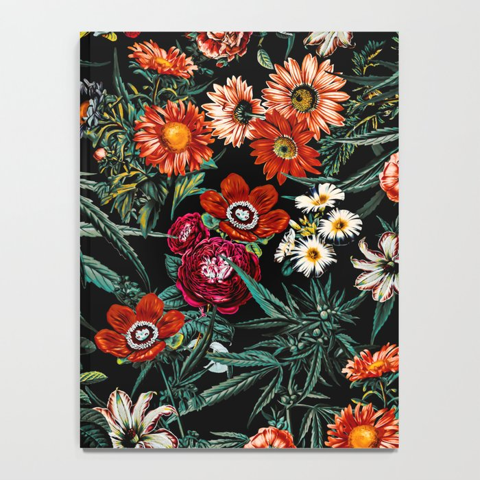 Marijuana and Floral Pattern Notebook