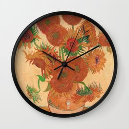 Still Life: Vase with Fourteen Sunflowers by Vincent van Gogh Wall Clock