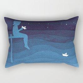 Boy with paper boats, blue Rectangular Pillow