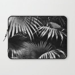 Tropical Botanic Jungle Garden Palm Leaf Black White Laptop Sleeve