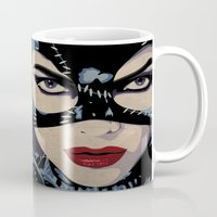 catwoman Mugs featuring Catwoman by Cassidy Dawn