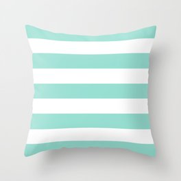Pale robin egg blue - solid color - white stripes pattern Throw Pillow