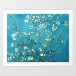 Vincent van Gogh Blossoming Almond Tree (Almond Blossoms) Light Blue Art Print