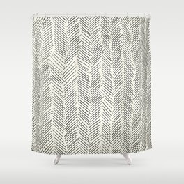 Herringbone Black on Cream Shower Curtain
