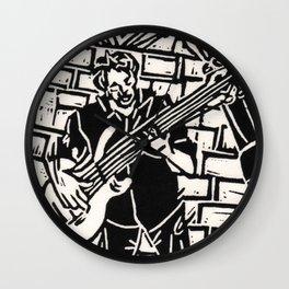 Bijoux's Blues Jazz Bass Bassist Musician Linoleum Block Print Wall Clock