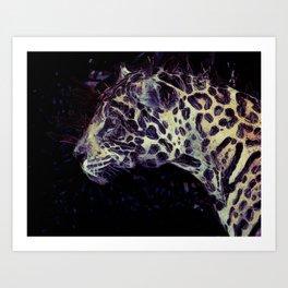 Purple Violet Beige Jaguar Art Art Print