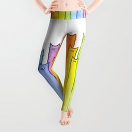 Rainbow of Cats Funny Whimsical Colorful Cat Animals Leggings