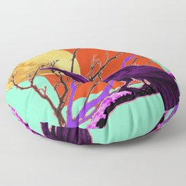 Surreal Purple-green  Mystic Moon Crow/Raven Moon Abstract Floor Pillow